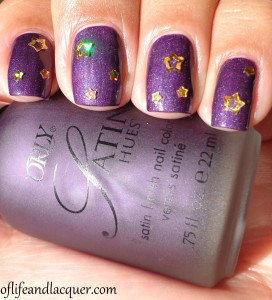 Orly Satin Hues Satin Finesse with Top Coat And Glitter Gold Stars