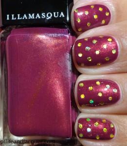 Illamasqua Charisma Swatch Gold Hex Glitter Polka Dots