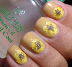China Glaze Classic Camel Swatch with flower