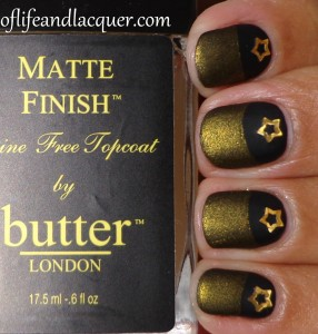 essence Black Is Black and Butter London Wallis Half Moon Matte with Stars